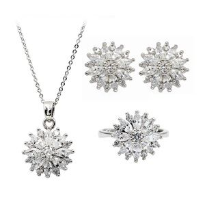 Shining crystal sun flower necklace earrings ring